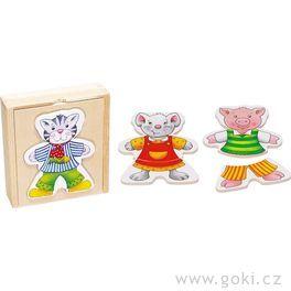 Puzzle – Šatní skříň zvířátka, 6motivů, 18dílů