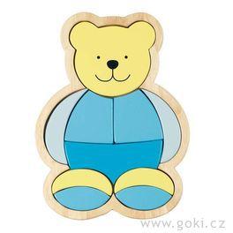 *AKCE* Dřevěné puzzle vrámečku – modrý medvídek