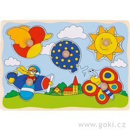 Puzzle sdřevěnými úchytkami – Slunce, motýlek, ptáček...