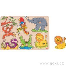 Dřevěné puzzle sezvukem – zvířátka zeZOO, 6dílů
