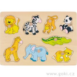 Puzzle sdřevěnými úchytkami – Zoo