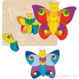 Vícevrstvé puzzle – Motýlek, 11dílů