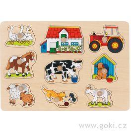 Puzzle sdřevěnými úchytkami – Zvířata nastatku II