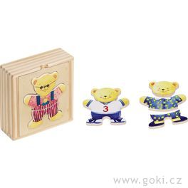 Puzzle – Šatní skříň medvědi, 6motivů, 18dílů