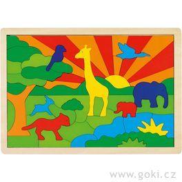 Dřevěné puzzle nadesce – Džungle