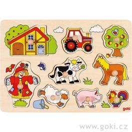 Puzzle sdřevěnými úchytkami – Zvířata nastatku IV
