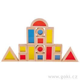 Stavební kostky sokny – geometrické tvary, 21dílů