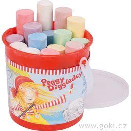 Chodníkové barevné kulaté křídy vplastové kbelíku Peggy Diggledey, 15ks
