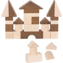 Klasické stavební kostky přírodní, 30ks