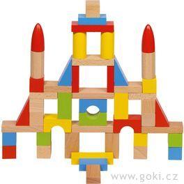 Stavební kostky zedřeva, přírodní ibarevné 50ks