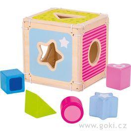 Vkládačka – dřevěný box+ 5kostek