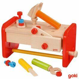 Dřevěný stolek apřenosný boxsnářadím vjednom, 16dílů