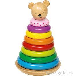 Dřevěný skládací houpací medvídek