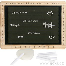 Tabule sdřevěným rámem, písmenky ačísly