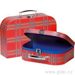 Sada 2dětských kufrů – červený skotský vzor
