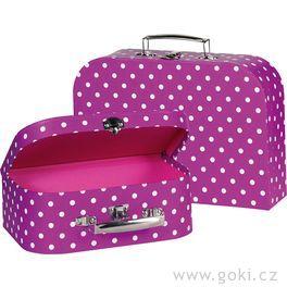 Sada 2dětských kufrů – lila spuntíky