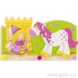 Dětský věšák zedřeva – malá princezna ajednorožec