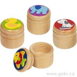 Dřevěná krabička naprvní zoubky – slůně, kačenka …