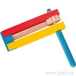 Barevná dřevěná řehtačka