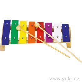 Xylofon barevný, 8tónů, 27cm
