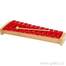 Xylofon červený, 12tónů, 39cm