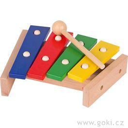 Xylofon barevný dřevěný, 4tóny, 22cm