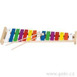Xylofon duhový, 15tónů +noty, 42cm