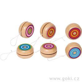 Dřevěné jojo – Barevné kroužky, 4,8cm