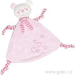 Mazlivá hračka usínáček – Růžový medvídek sesrdíčkem