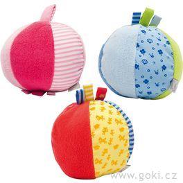 Barevný míček schrastítkem  aoušky, motorická hračka