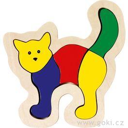 Dřevěné puzzle vrámečku – Kočka