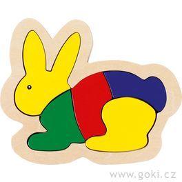 Dřevěné puzzle vrámečku – Zajíc
