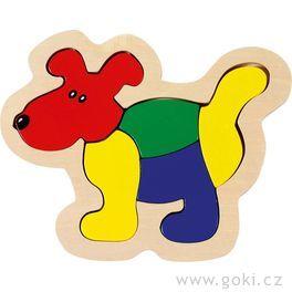 Dřevěné puzzle vrámečku – Pes