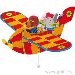 Dřevěné létající letadlo červené – létající závěsná dekorace