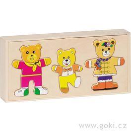 Puzzle – Šatní skříň medvědí rodinka, 6motivů, 54díly