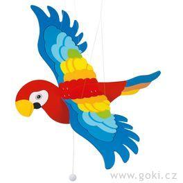 Dřevěný létající papoušek větší – létající závěsná dekorace