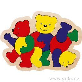 Dřevěné puzzle vrámečku – 3medvídci