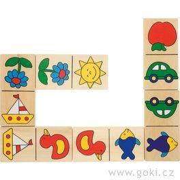 Domino sobrázky vdřevěné krabičce, 28dílů