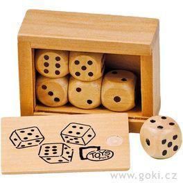Stolní hra– Hrací kostky vdřevěné krabičce