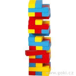 Zábavná hra– Vratká věž Jenga barevná, 45dílů