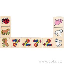Domino zvířátka vdřevěné krabičce, 28dílů