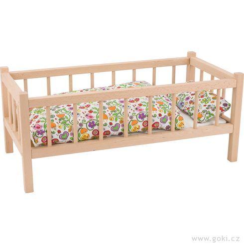 Dřevěná postýlka spříčkami provelké panenky, buk - Goki