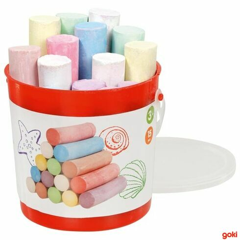 Chodníkové barevné kulaté křídy vplastové kbelíku, 15ks - Goki