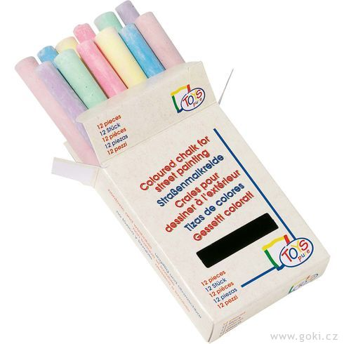 Školní barevné kulaté křídy, 12ks - Goki