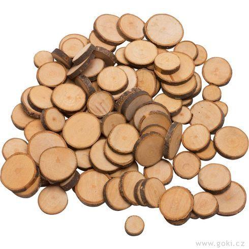 Dřevěná kolečka kezdobení, cca100kusů - Goki