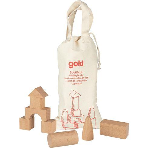 Dřevěné stavební kostky vbavlněném pytlíku - Goki